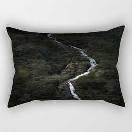 Dark forest with waterfall on the side of a mountain in Norway - Landscape Photography Rectangular Pillow