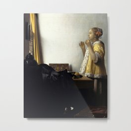 Johannes Vermeer - Woman with a Pearl Necklace Metal Print