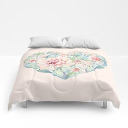 Cactus Rose Heart on Pink Comforters