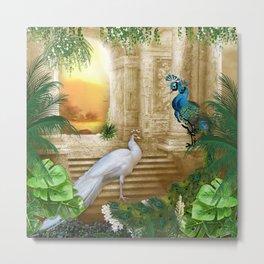 Golden Royal Peacock Temple Dreams Metal Print