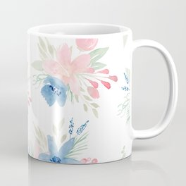 Blush Pink and Navy Watercolor Florals Coffee Mug