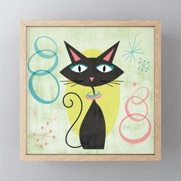 Mid-Century Modern Atomic Black Cat Framed Mini Art Print