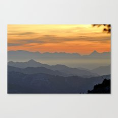 Mountains. Foggy sunset Canvas Print