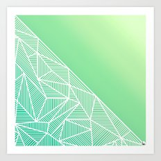 B Rays Geo Gradient Green Art Print