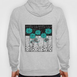 Turquoise flowers on black and white background . Hoody