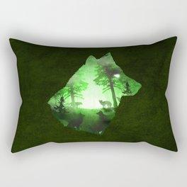 Green Wolf Rectangular Pillow