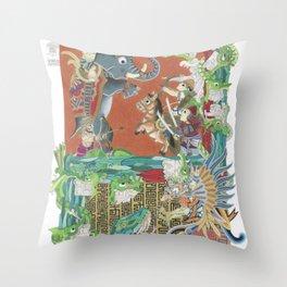 Battle Smurfs Throw Pillow
