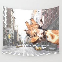 Selfie Giraffe in New York Wall Tapestry
