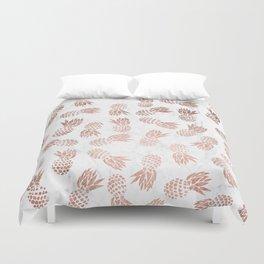 Modern faux rose gold pineapples white marble pattern Duvet Cover