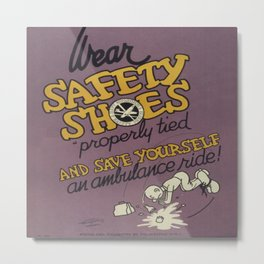 Vintage poster - Wear Safety Shoes Metal Print