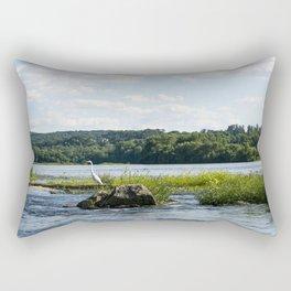 White Crane Rectangular Pillow