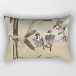 Spring Sparrows in Bamboo Tree Rectangular Pillow