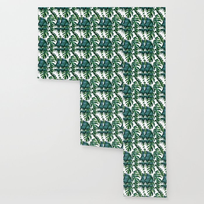 Classic Palm Leaves Tropical Jungle Green Wallpaper