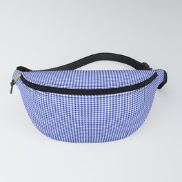 Small Cobalt Blue and White Houndstooth Check Pattern Fanny Pack