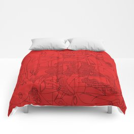 Picasso Line Art - Guernica (Red) Comforters