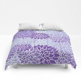 Ultra Violet Lavender Dahlias Comforters