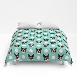 Logan - Boston Terrier pattern polka dots dog print gift for dog person dog lovers terrier custom Comforters