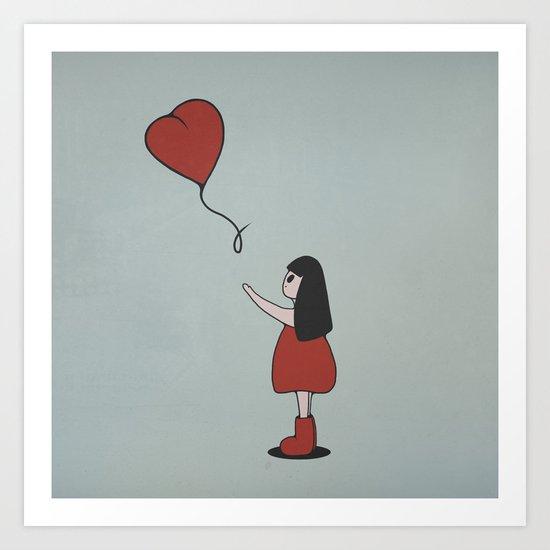 Girl with a Heart-Shaped Balloon Art Print
