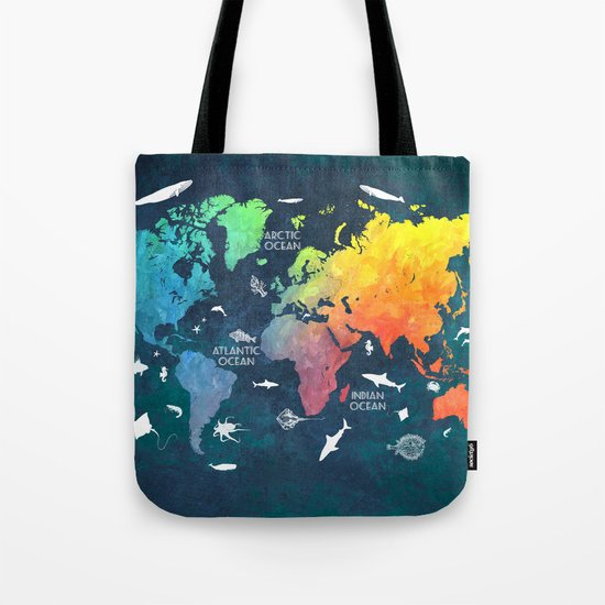 Ocean World Map color Tote Bag