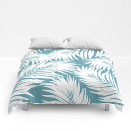 Palm Tree Fronds White on Soft Blue Hawaii Tropical Décor Comforters