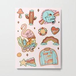 Rainbow Sticker Sheet Metal Print