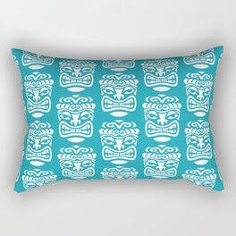 Tiki Pattern Turquoise Rectangular Pillow