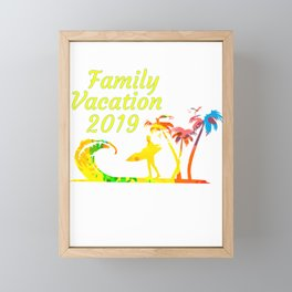 Family Vacation 2019 Surfer with Surfboard on Sandy Beach with Palm Trees Framed Mini Art Print