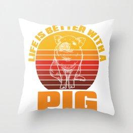 Retro Pig Throw Pillow