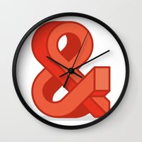 ampersand Wall Clocks featuring Ampersand by Damien Faivre