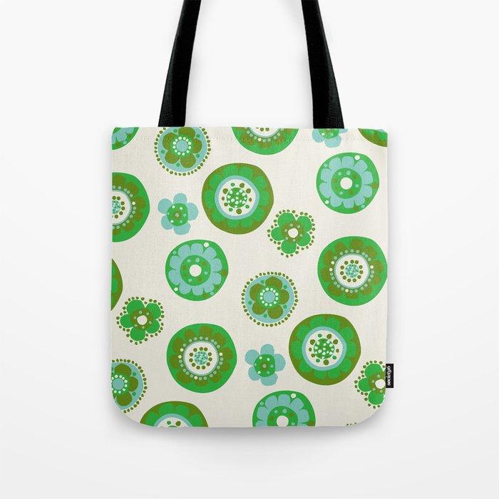retro flowerspot-olive Tote Bag