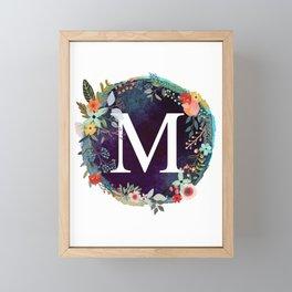 Personalized Monogram Initial Letter M Floral Wreath Artwork Framed Mini Art Print
