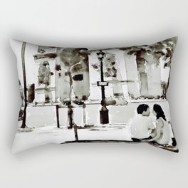 The Arc de Triomphe Paris Black and White Rectangular Pillow
