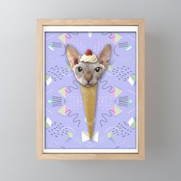 SPHYNX CAT ICE CREAM Framed Mini Art Print
