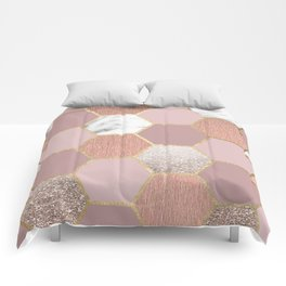 Indulgent desires rose gold marble Comforters