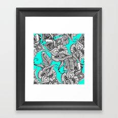 Boho black white hand drawn floral doodles pattern turquoise Framed Art Print