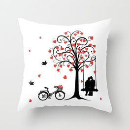 pair in love swinging on the seesaw and bike Throw Pillow