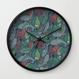 Tattoo master octopus. Whales, mermaids, sharks. Wall Clock
