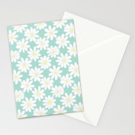 Bright Happy Daisies on Mint Stationery Cards