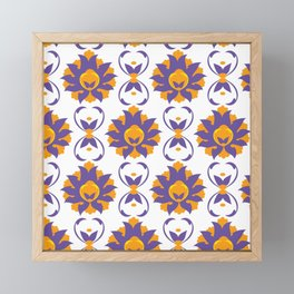 Islamic Illumination purple and orange palette Framed Mini Art Print