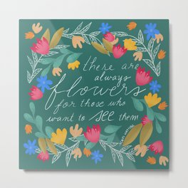 Henri Matisse Quote - Green and Red, Wreath of Flowers, Saying Metal Print