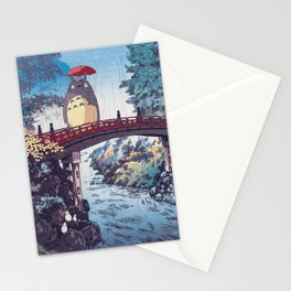 My neighbour Toto vintage japanese mashup Stationery Cards
