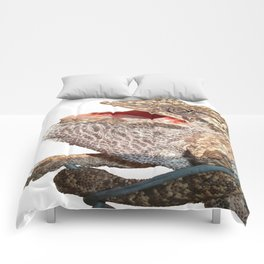 A Chameleon With Open Mouth Isolated Comforters