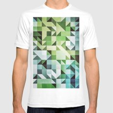 :: geometric maze II :: MEDIUM White Mens Fitted Tee