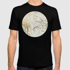 Gold marble Mens Fitted Tee Black X-LARGE