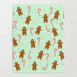 Gingerbread man wishes you Merry Xmas! - Mint green Poster