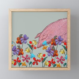 Pig in the garden Framed Mini Art Print