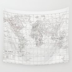 World Map ~ White on White Wall Tapestry