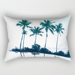 Palm Tree Reflections Teal Rectangular Pillow