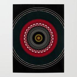 Modern Black White and Red Mandala Poster