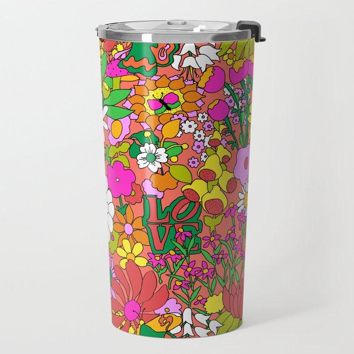 60's Groovy Garden in Neon Peach Coral Travel Mug